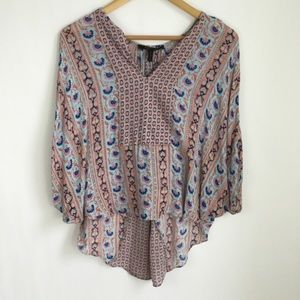BCBG Maxazria Pink Blue Print Boho Top Shirt
